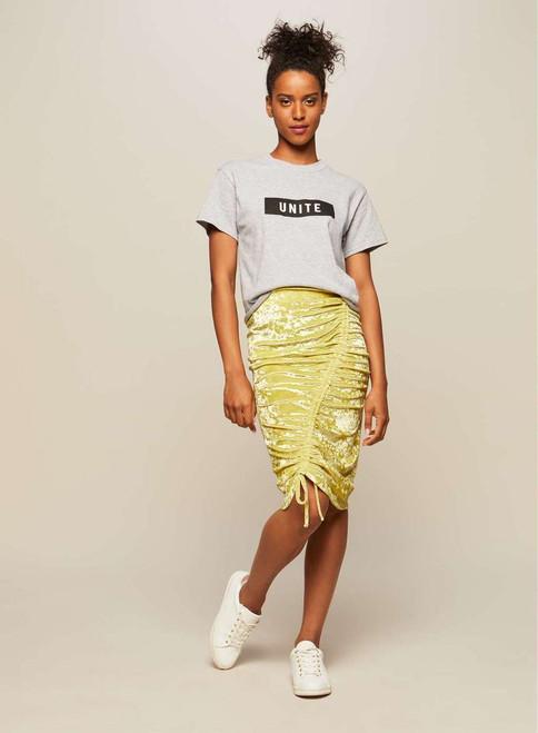 Chartreuse Velvet Ruched Skirt