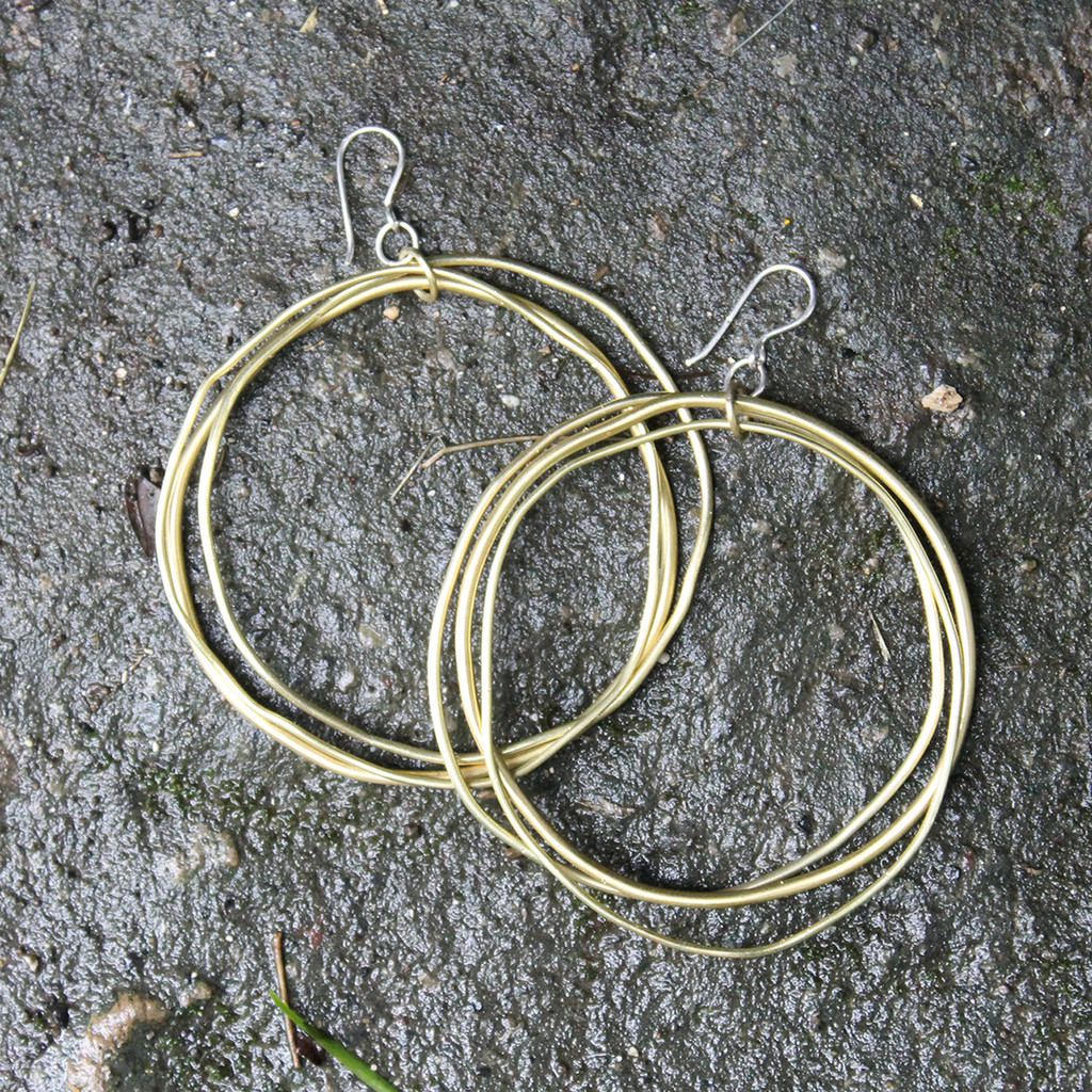 Large multi hoop brass earrings with sterling silver posts