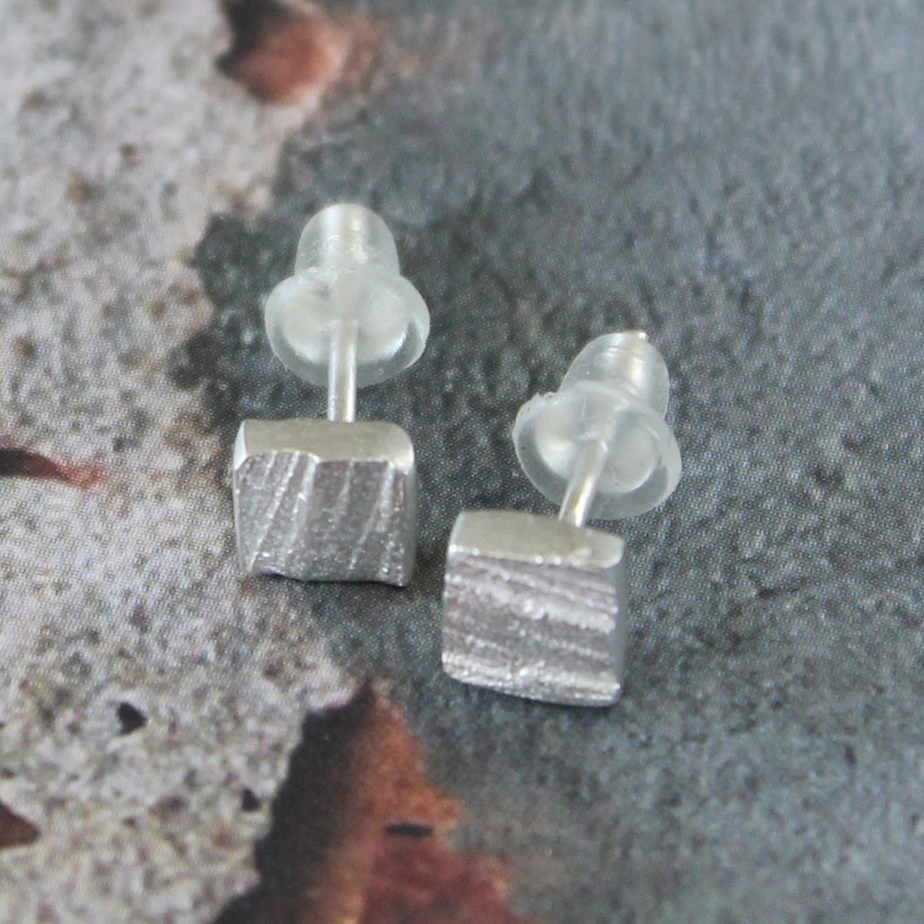 Textured square small silver stud earrings with sterling silver posts