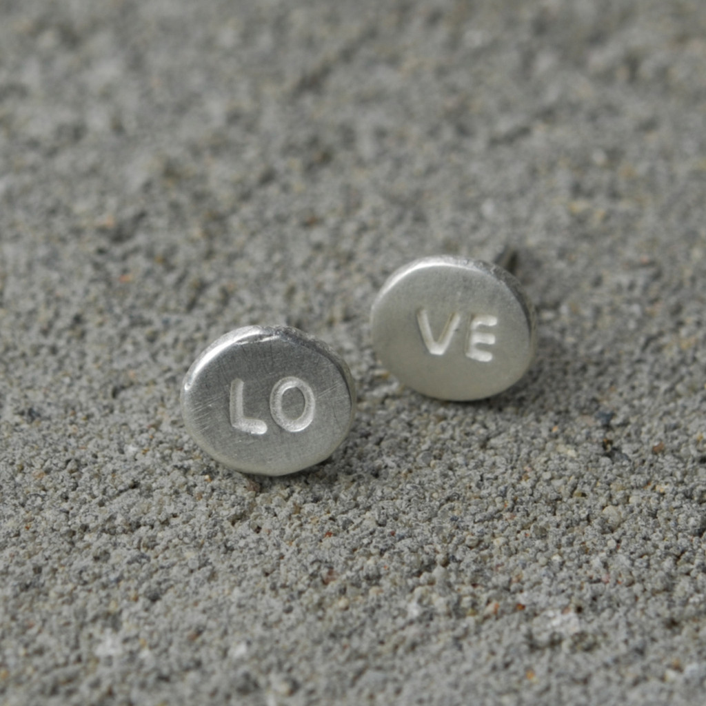 Silver LOVE earrings with sterling silver posts