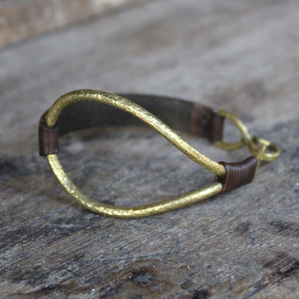 Thin chocolate brown leather bracelet with brass details
