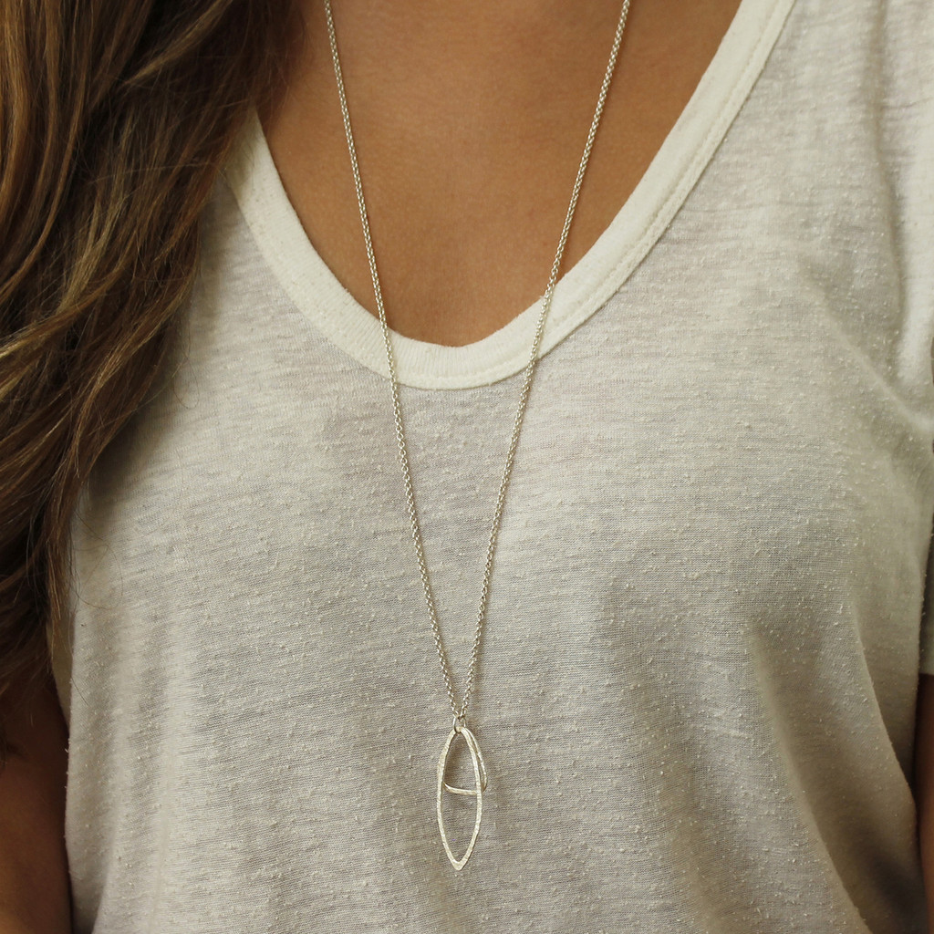 Silver oblong pendant on delicate chain