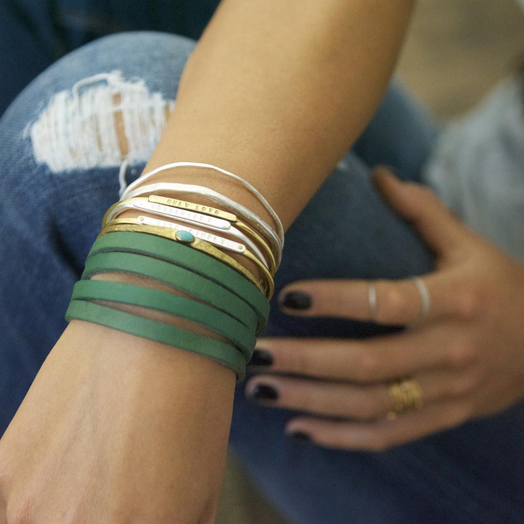 Sage leather multi wrap bracelet with brass closure