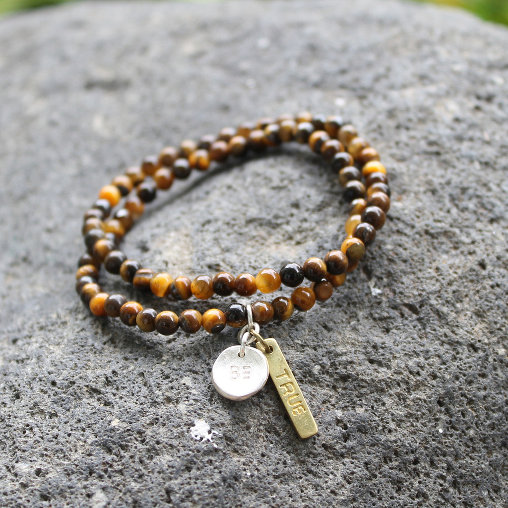 """Tiger's eye beaded bracelet set with """"BE TRUE"""" inspirational charms"""