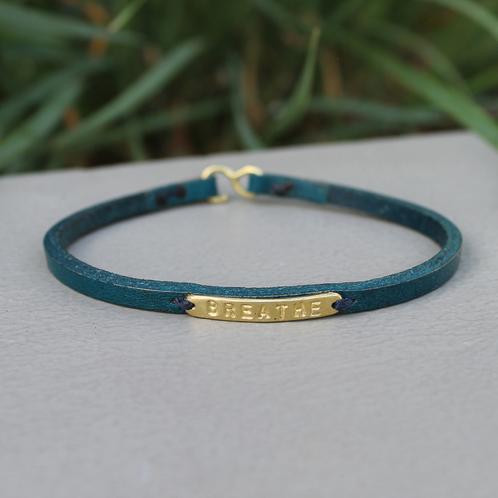 Teal leather bracelet with brass BREATHE detail
