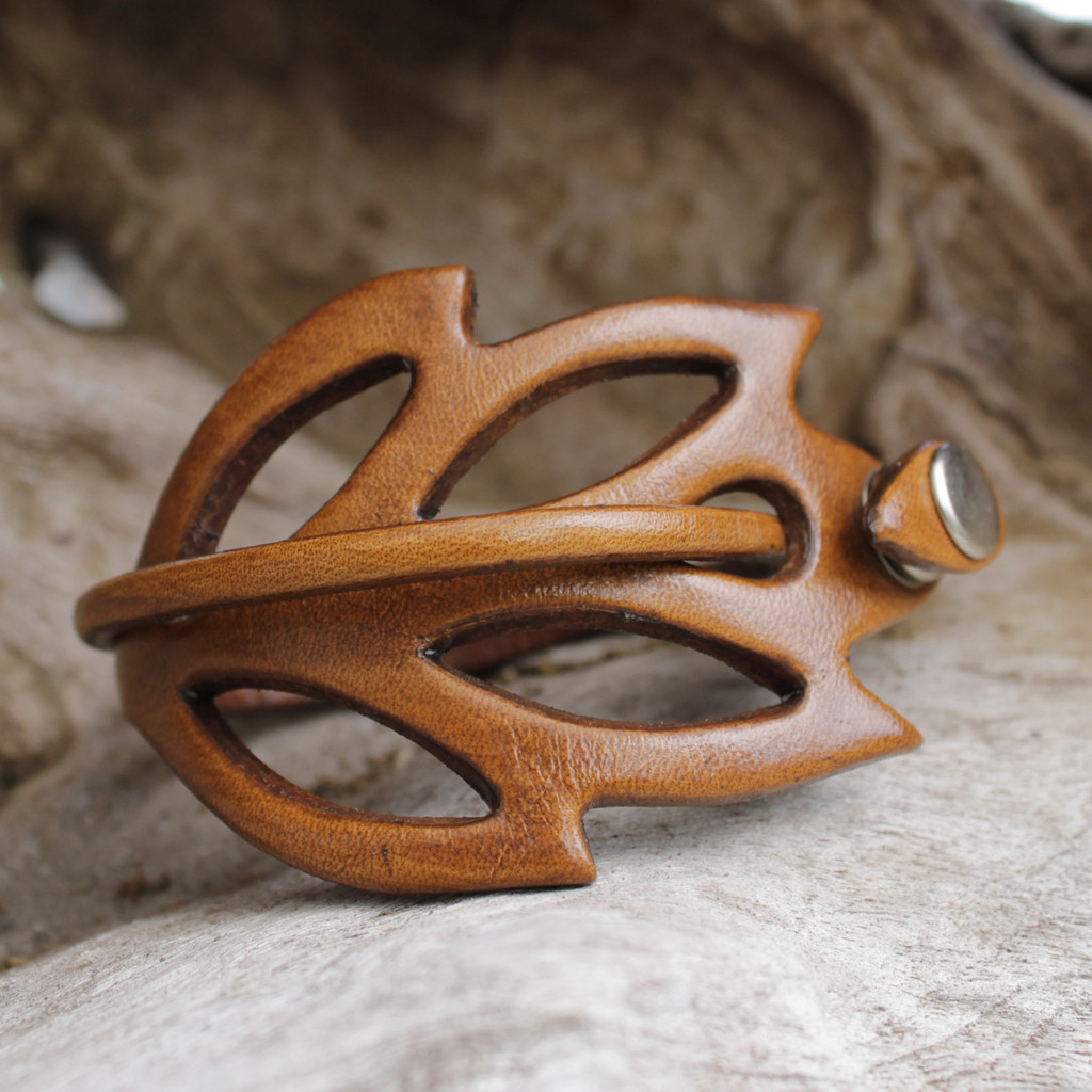 Mocha leather cuff bracelet with cut out detailing