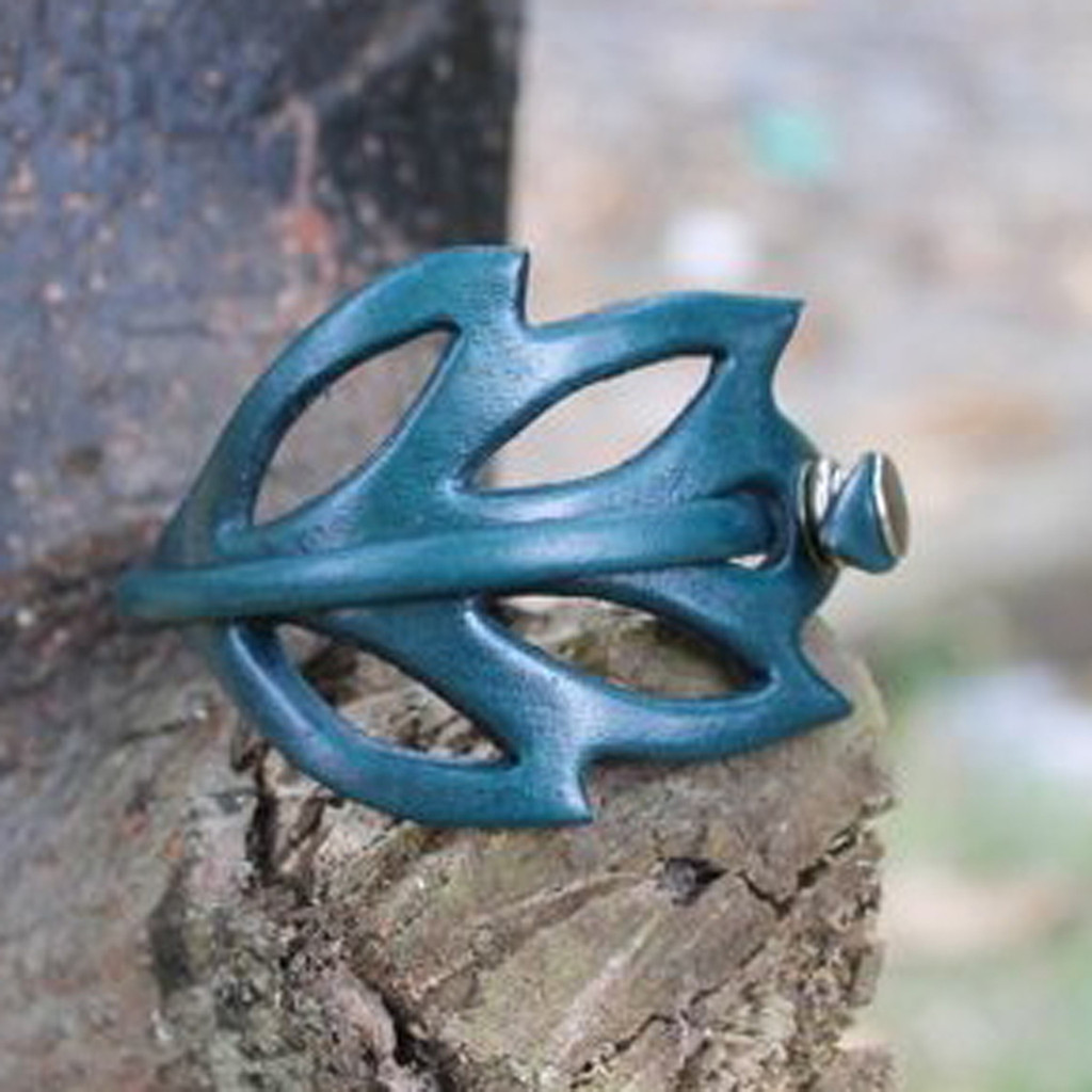 Teal leather cuff bracelet with cut out detailing