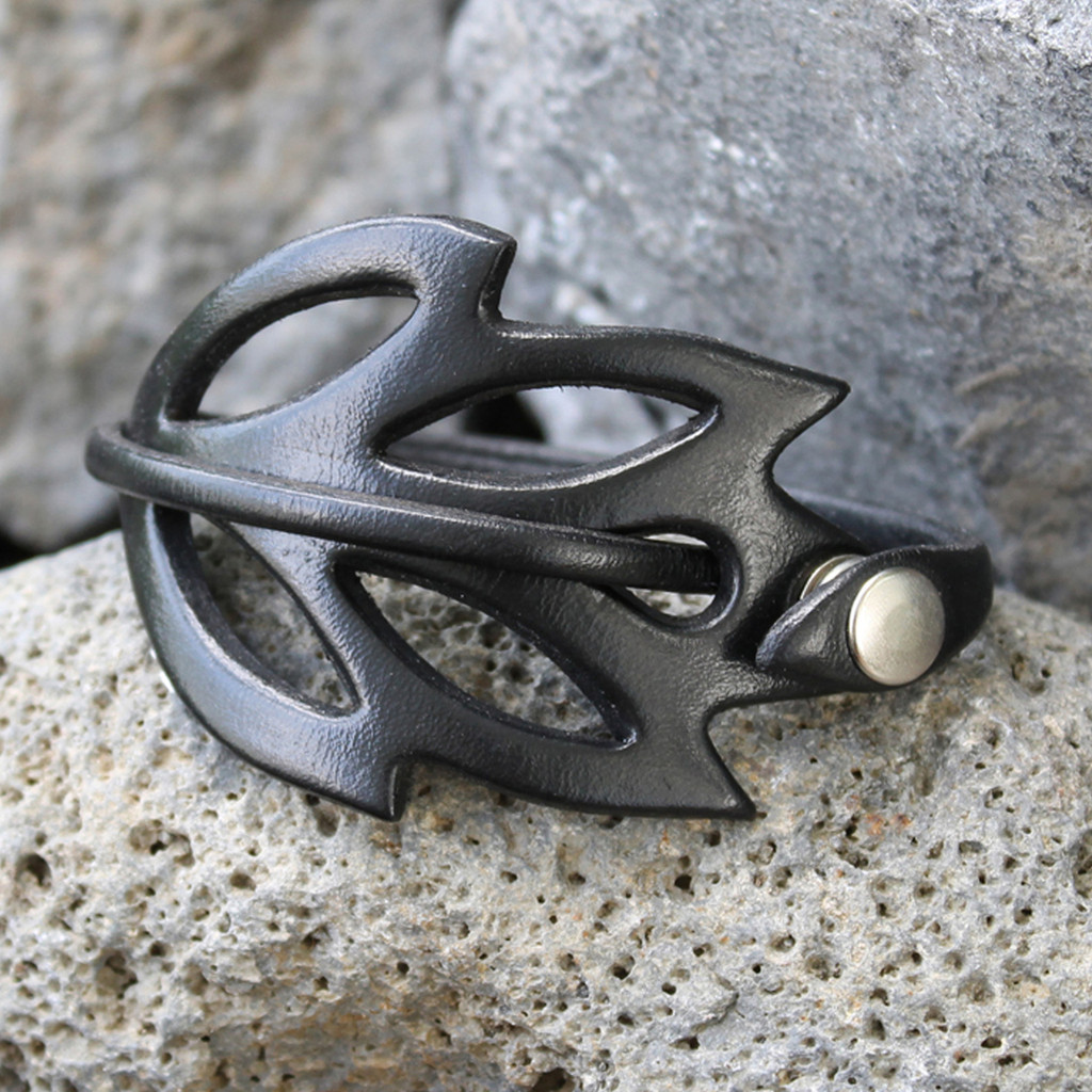 Black leather cuff bracelet with cut out detailing