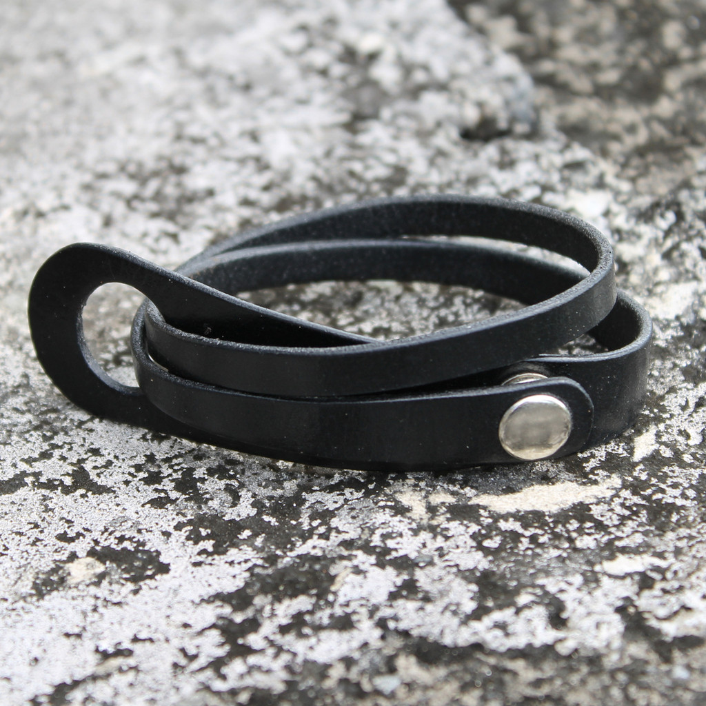 Black leather multi wrap bracelet with silver snap closure