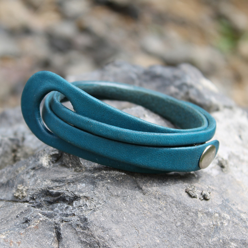 Turquoise leather multi wrap bracelet with silver snap closure
