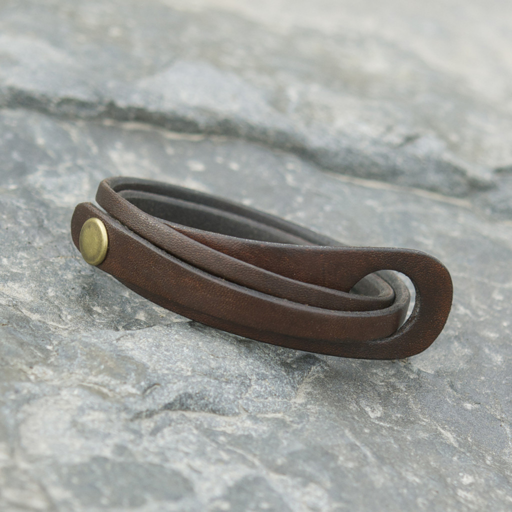 Chocolate brown leather multi wrap bracelet with brass snap closure