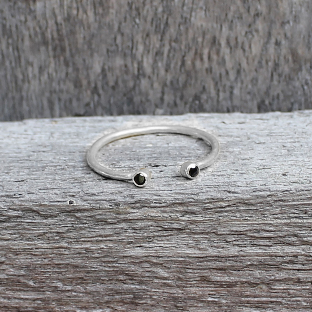 sterling silver open ring with black stone