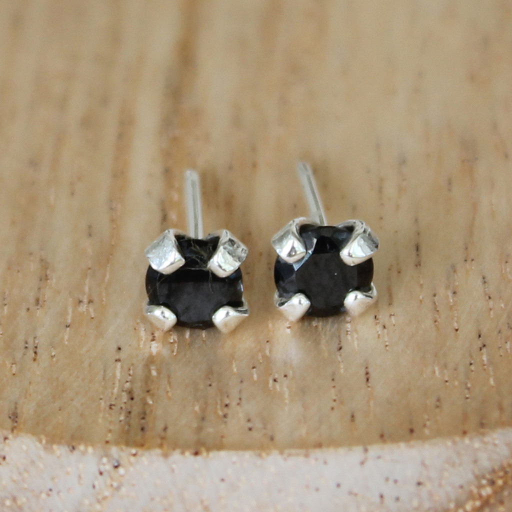 silver studs with black stone and sterling silver earring posts