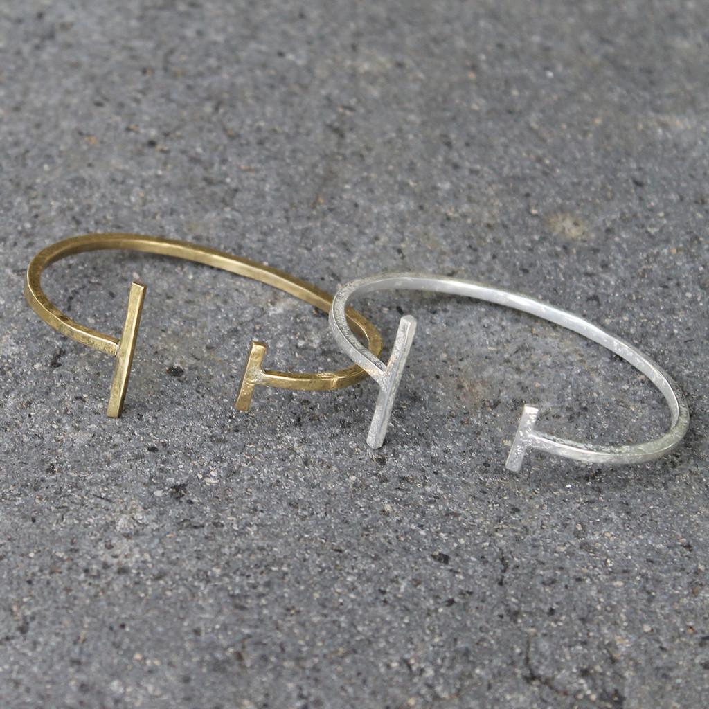 brass and silver delicate cuff bracelets
