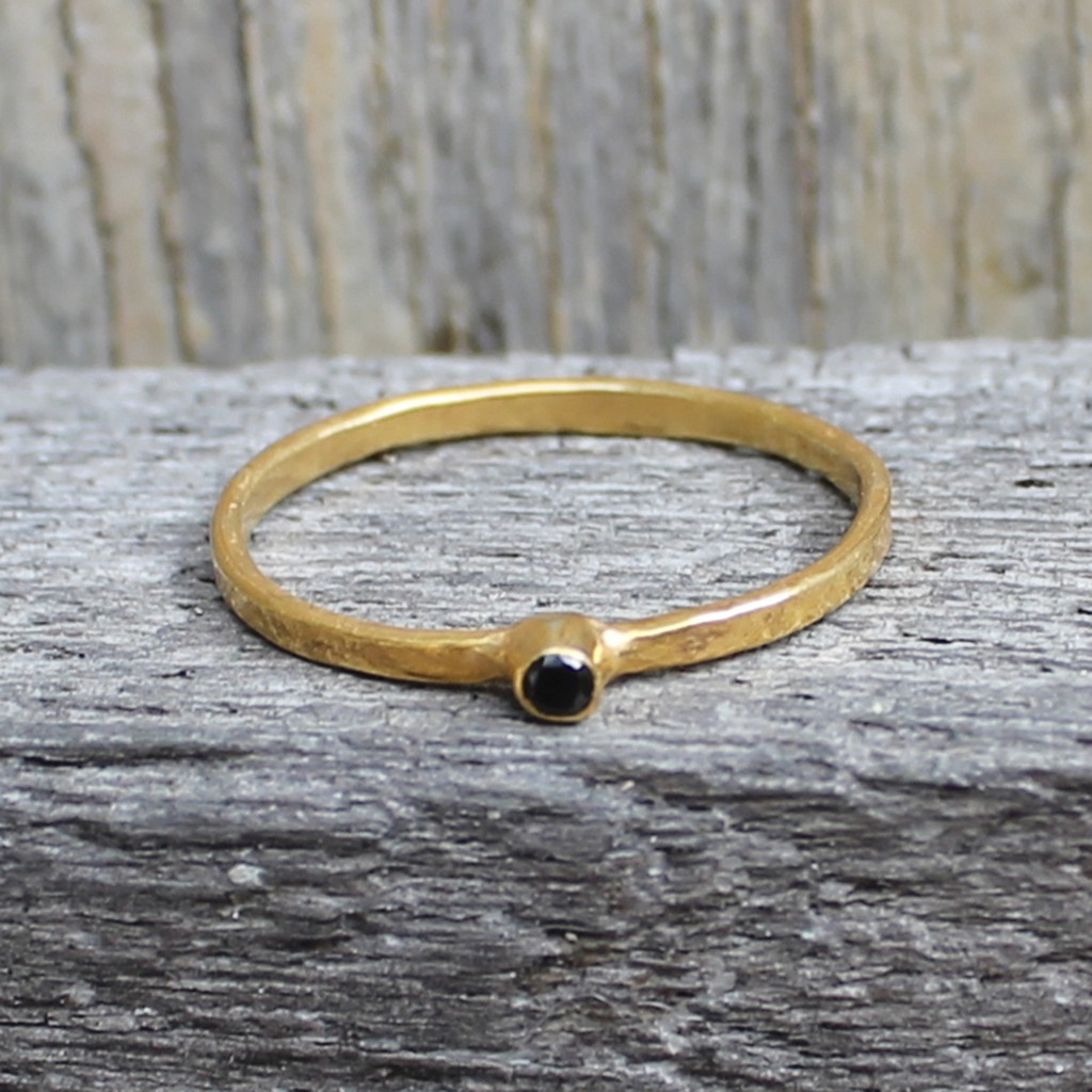 14 carat gold plated sterling silver ring with solitaire black stone
