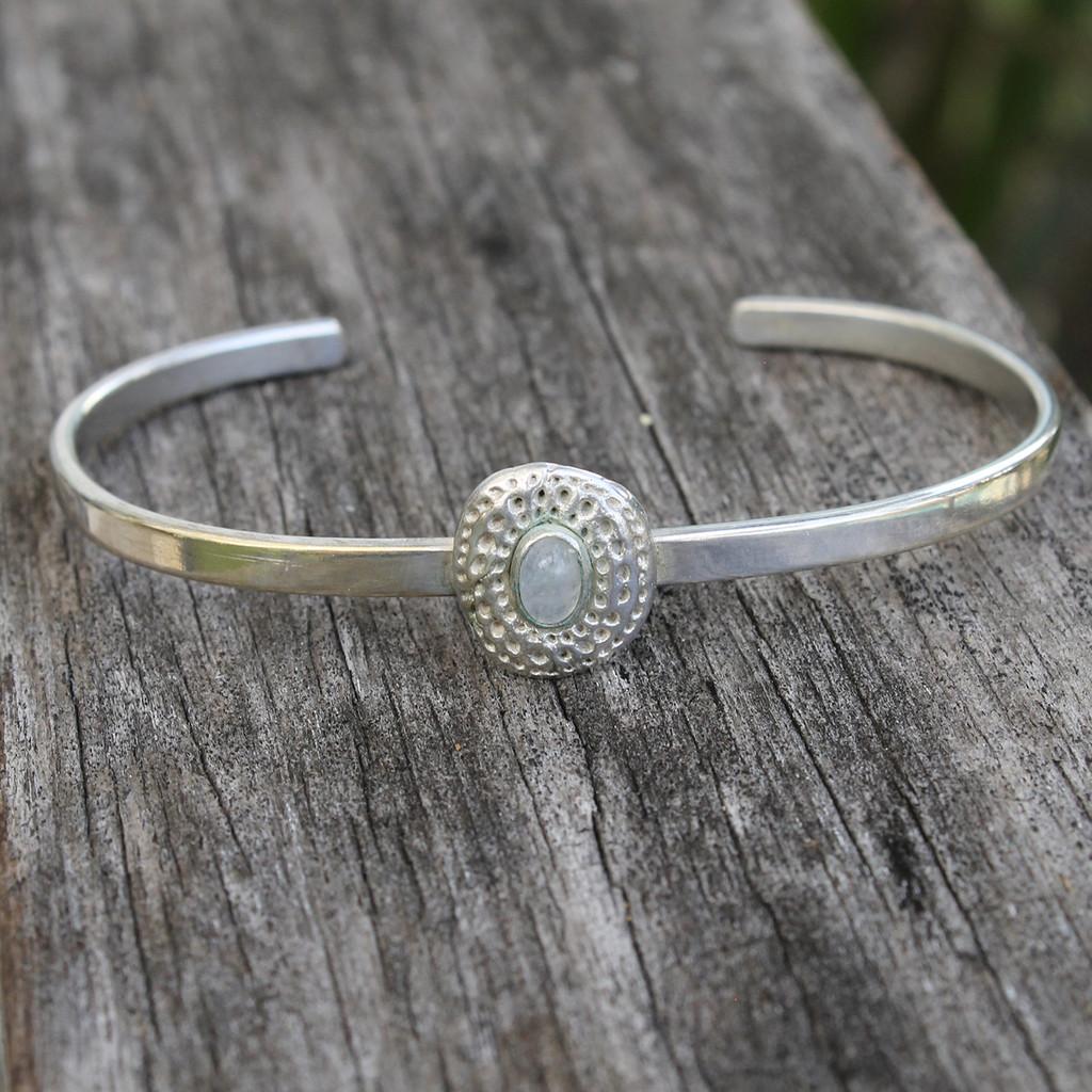 adjustable silver bracelet with moonstone detailing
