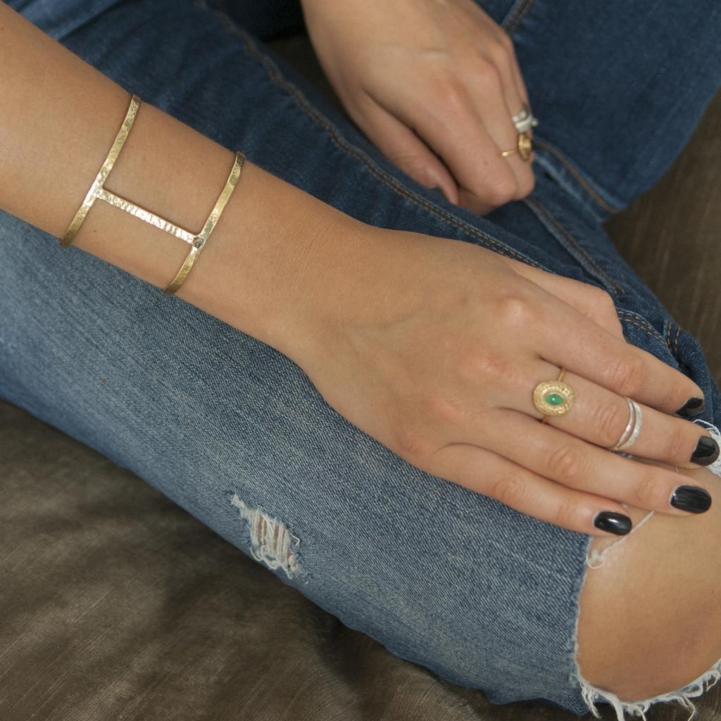 adjustable brass statement cuff bracelet with raw diamond detailing