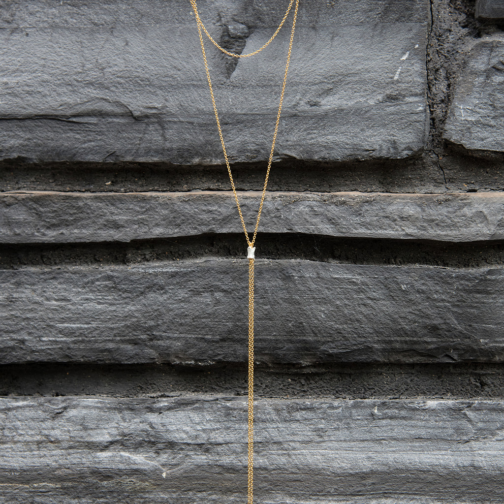 delicate gold filled chain lariat style necklace with double chain and silver detail