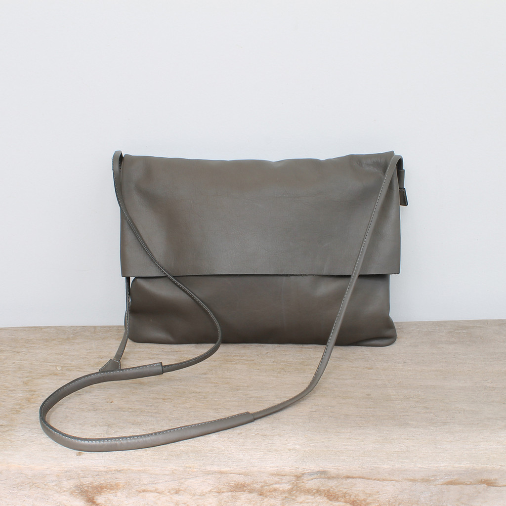 grey genuine leather fold over crossbody bag with minimalist adjustable strap