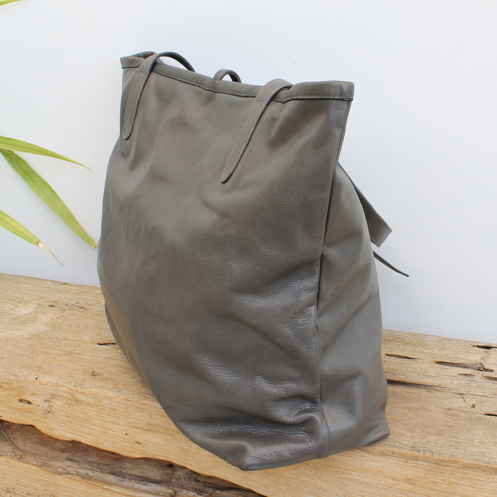 grey leather tote bag with minimalist closure
