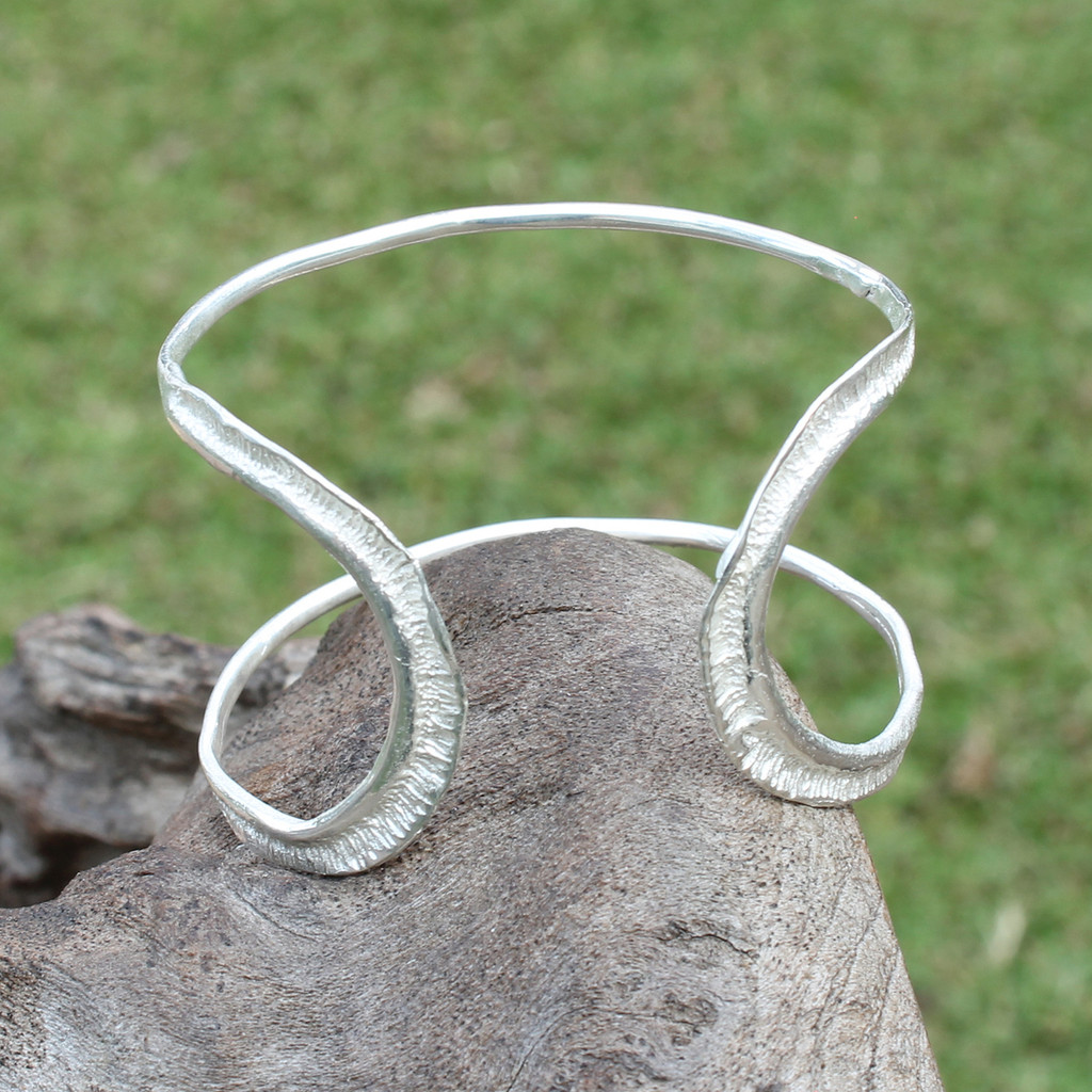 textured silver plated brass adjustable statement cuff