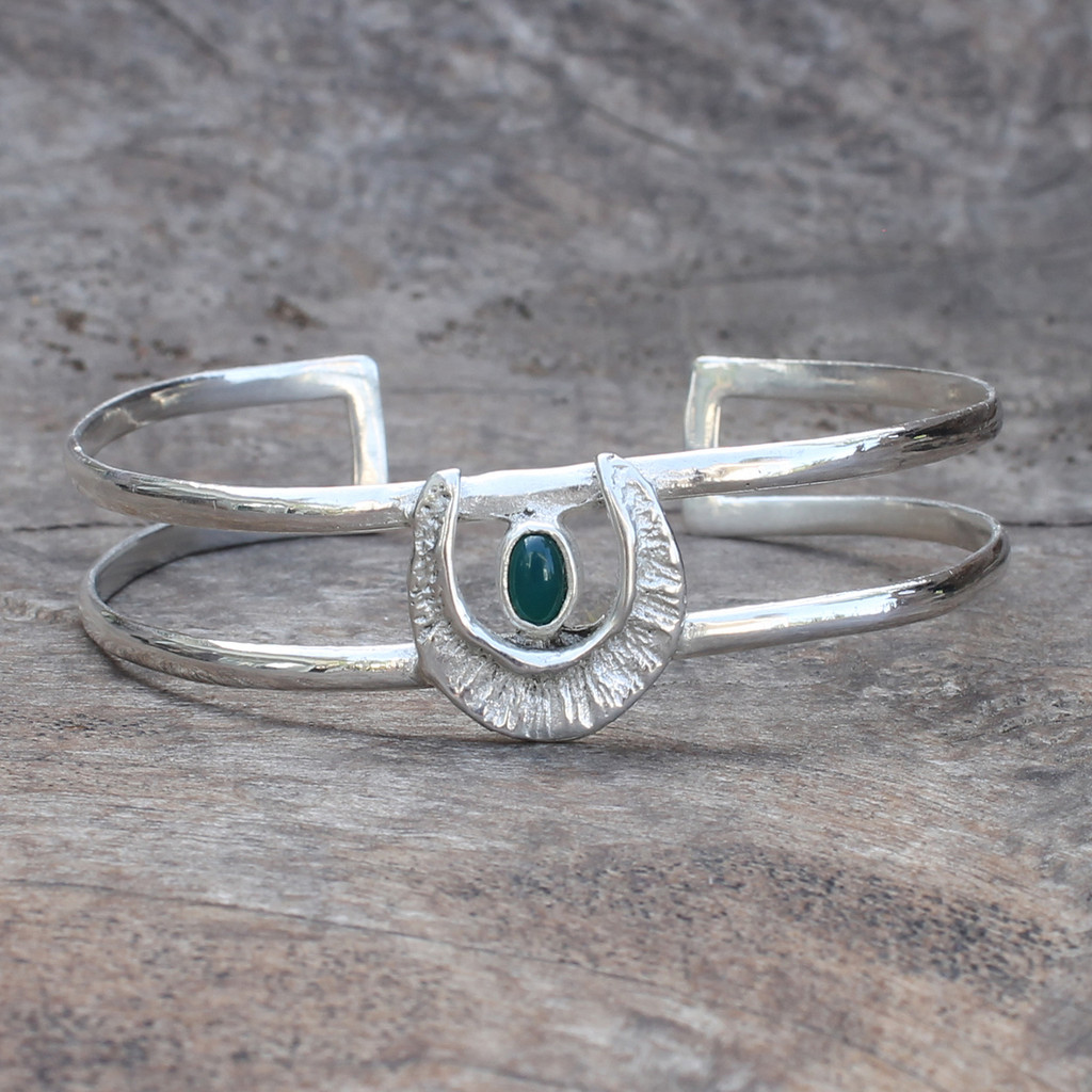 textured adjustable silver plated brass cuff with green agate stone detail