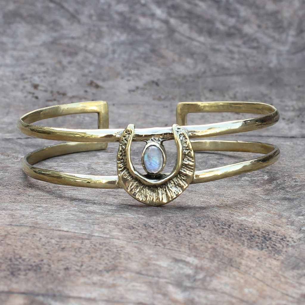 textured adjustable brass cuff with moonstone detail