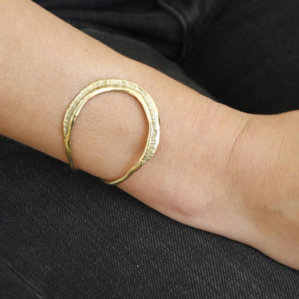 textured adjustable brass cuff