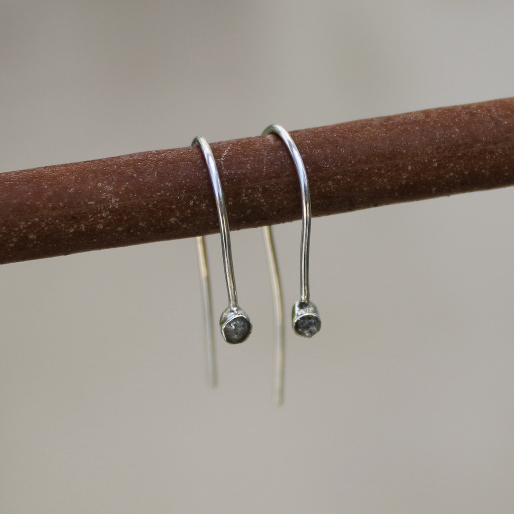 sterling silver hook earrings with raw diamonds