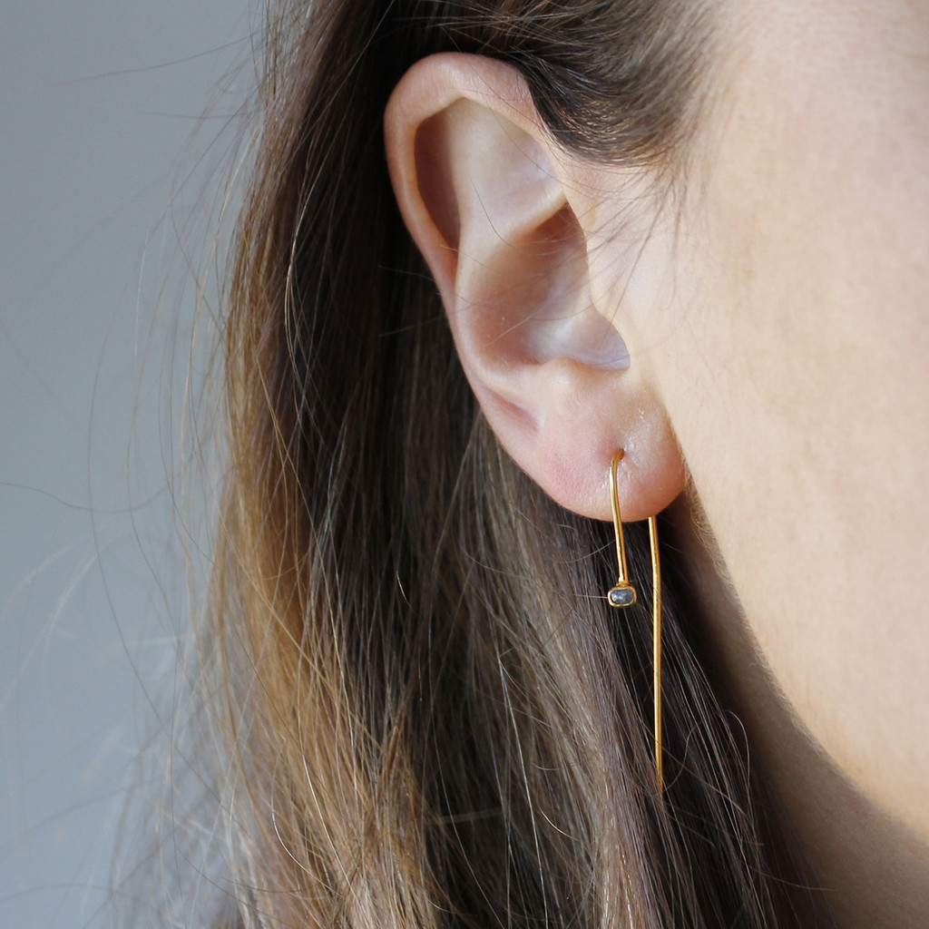 gold plated sterling silver hook earrings with raw diamonds