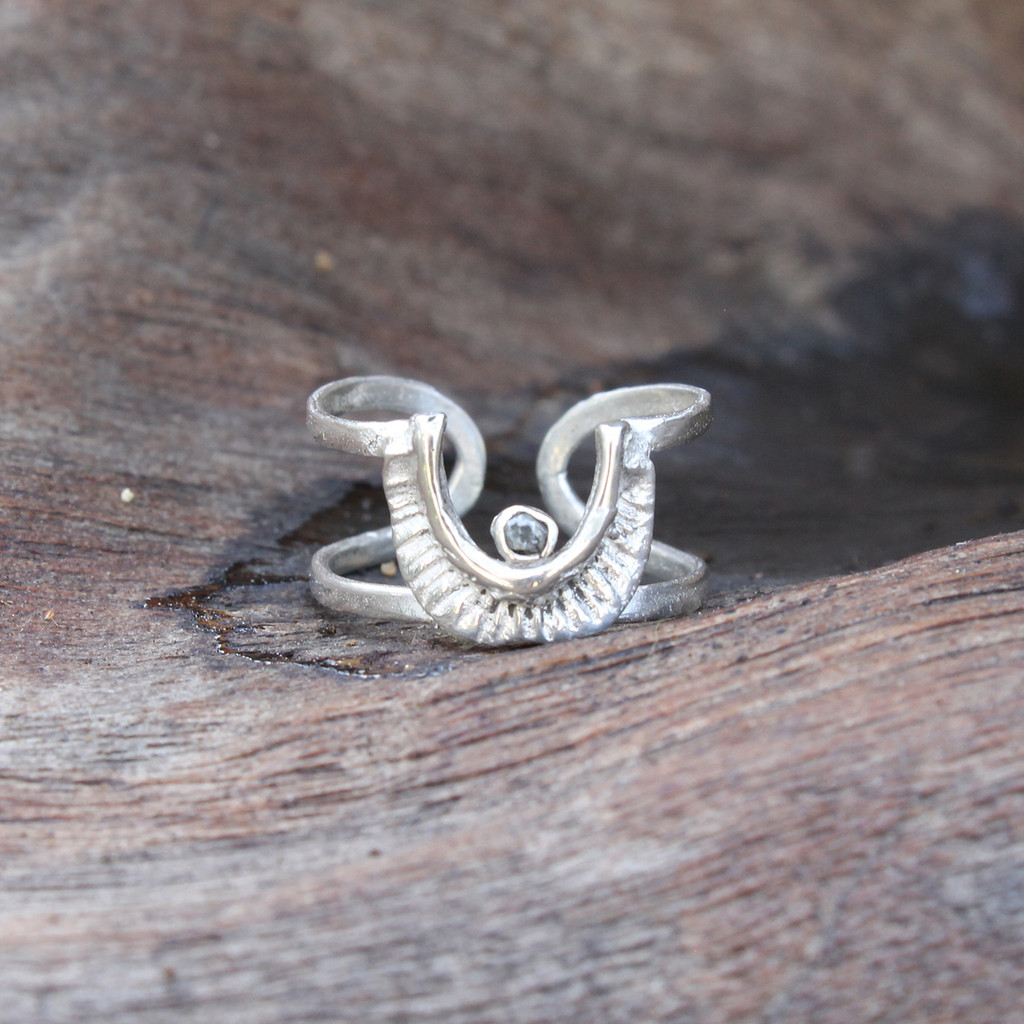 Adjustable textured ring with raw diamond detail in sterling silver