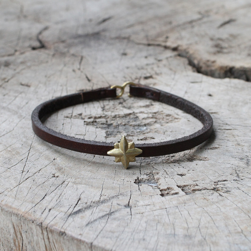 chocolate brown leather bracelet with brass nautical star detail
