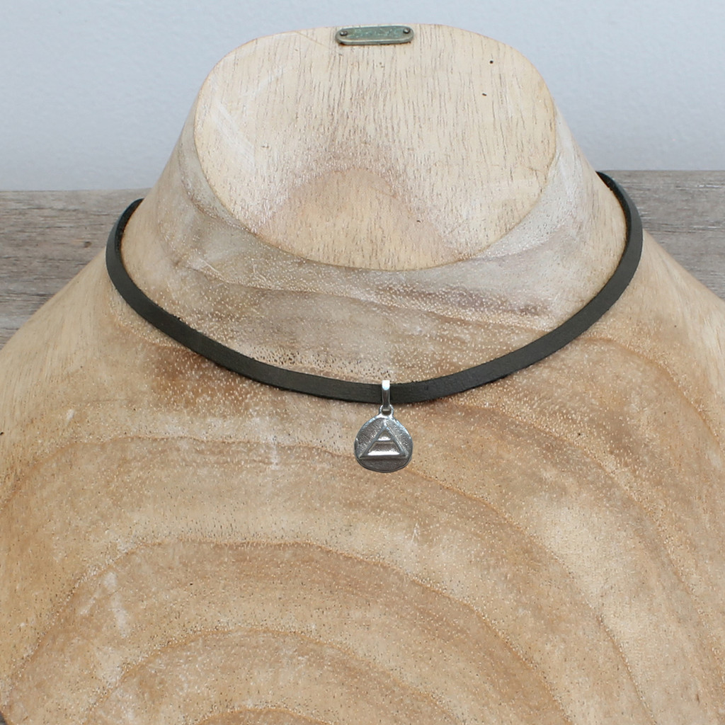 """grey leather necklace with silver plated """"explore"""" pendant"""