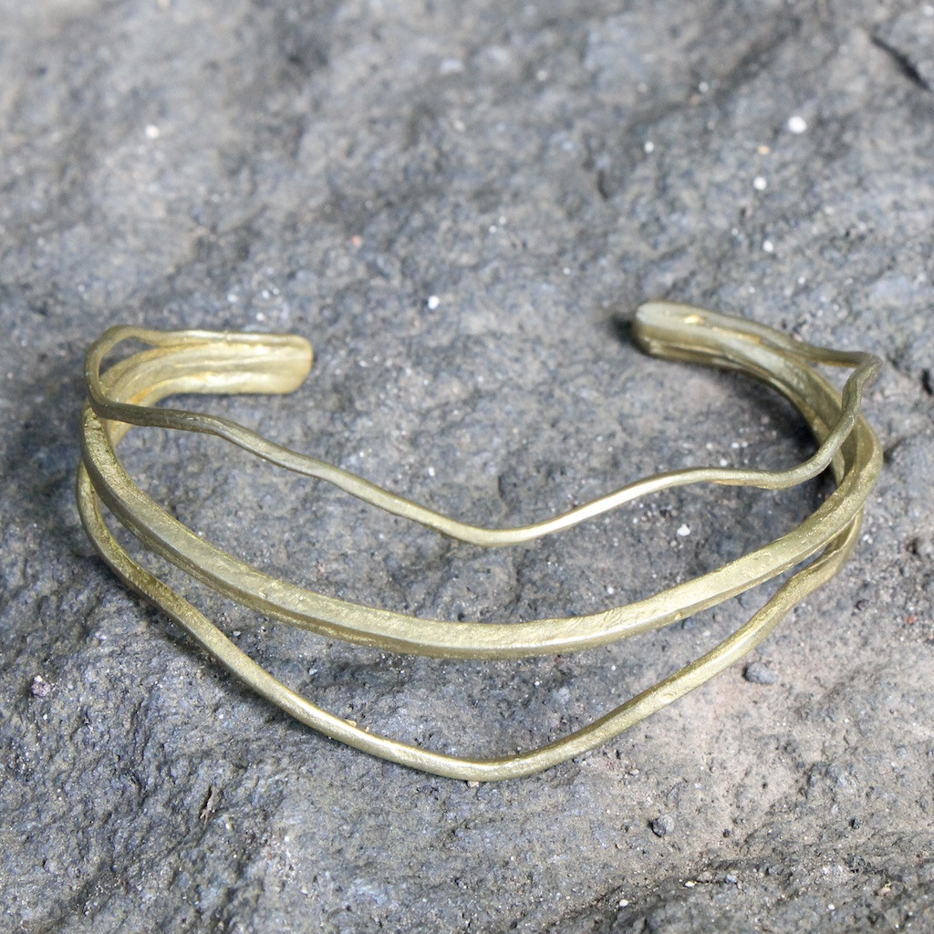 Delicate adjustable cuff bracelet in antique brass