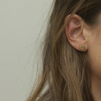 Brass LOVE earrings with sterling silver posts