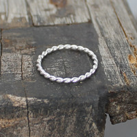 Sterling silver stacking ring in twisted shape