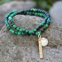 "Blue chrysocola beaded bracelet set with ""IMAGINE IF"" inspirational charms"