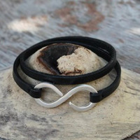 Black leather multi wrap bracelet with silver closure