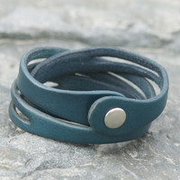 Teal leather multi wrap bracelet with snap closure