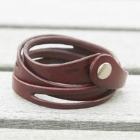 Red leather multi wrap bracelet with snap closure