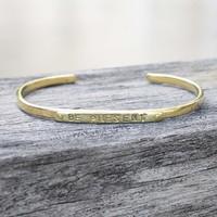 """Brass """"be brave"""" adjustable inspirational bracelet"""