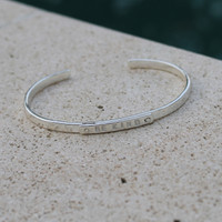 """Silver """"be kind"""" adjustable inspirational bracelet"""