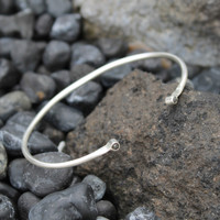 Simple silver cuff with raw diamonds