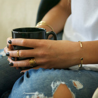 Adjustable dainty brass cuff with black stone detail