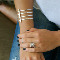 Sterling silver stacking rings with solitaire white, black and smokey quartz stones