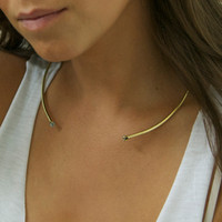 Collar style brass choker necklace with twin white stone detailing