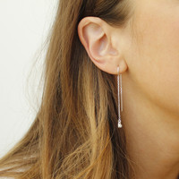 delicate sterling silver chain threader earrings with white stone detail