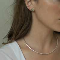 minimalist delicate silver plated brass collar necklace with hinged closure
