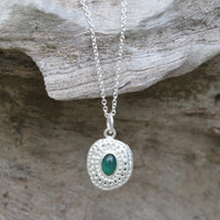 sterling silver delicate chain necklace with green agate stone detailing