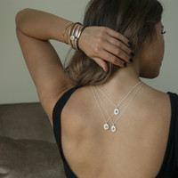 sterling silver delicate chain necklaces with green agate, moonstone or turquoise stone detailing